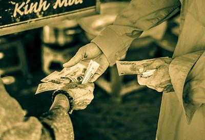 Street life scene in a market.