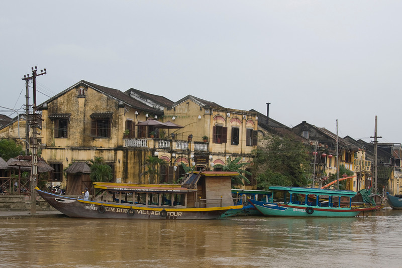 Boats on river in Hoi An, Vietnam
