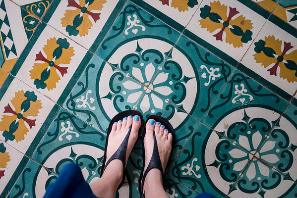 geometric floor tiles in the temple in Hoi An