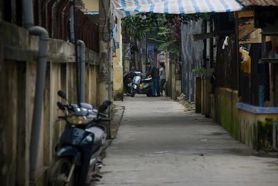 Random shot of a narrow alley in Hue, Vietnam
