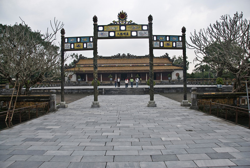 The archway leading to the entrance of Royal Grounds - Hue, Vietnam