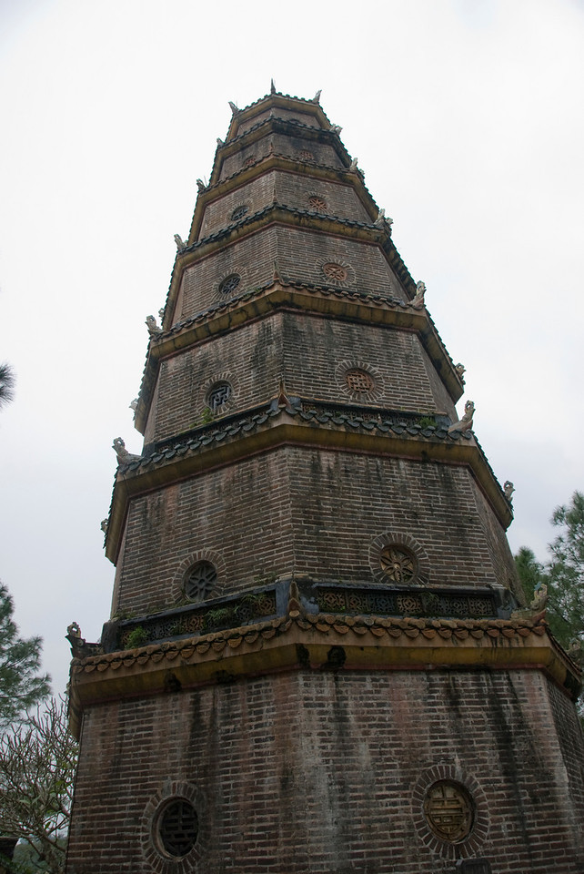 Close-up shot of the Thien Mu Pagoda - Hue, Vietnam
