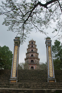 Thien Mu Pagoda in between two pillars - Hue, Vietnam