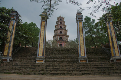 Pillars on stairs to Thien Mu Pagoda - Hue, Vietnam