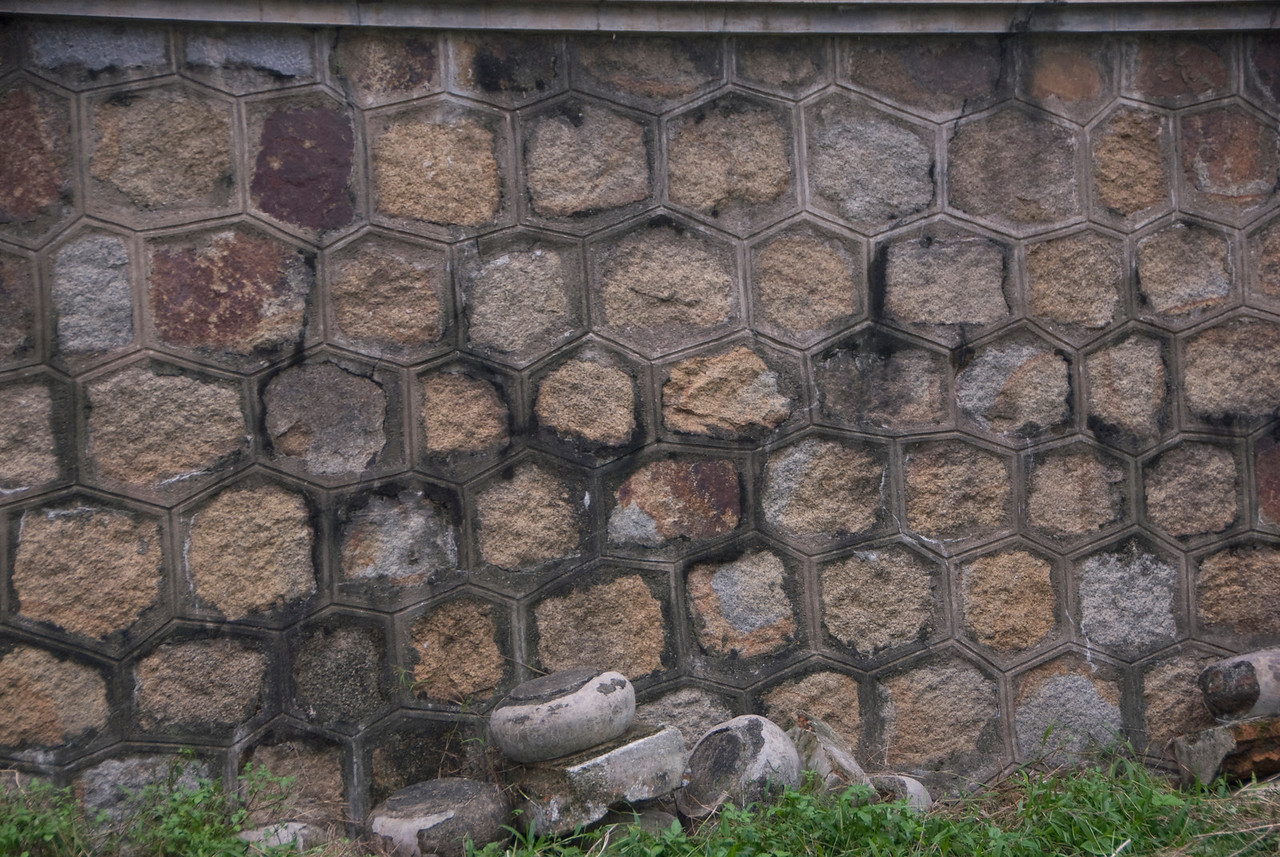 Brick work at the walls inside Royal Grounds - Hue, Vietnam