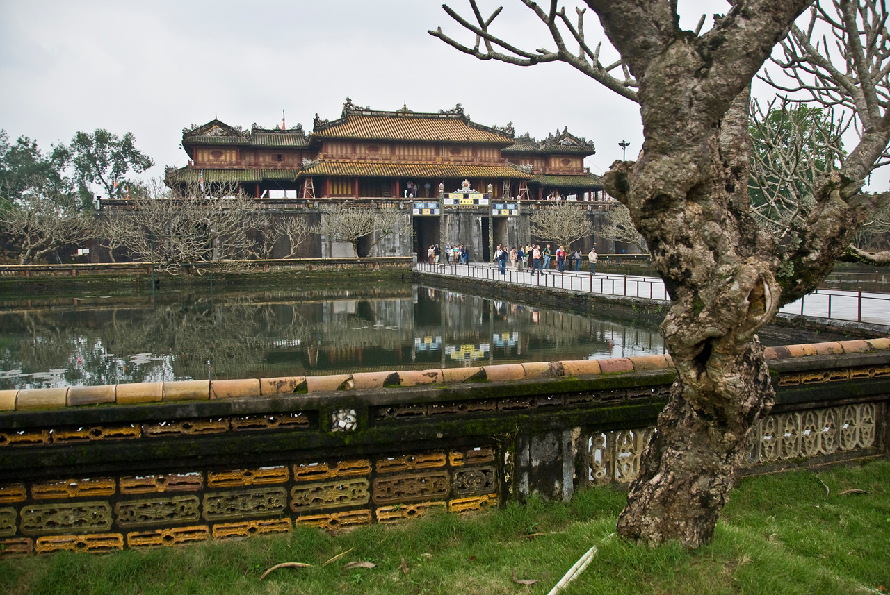 Wide shot of the Royal Grounds in Hue, Vietnam