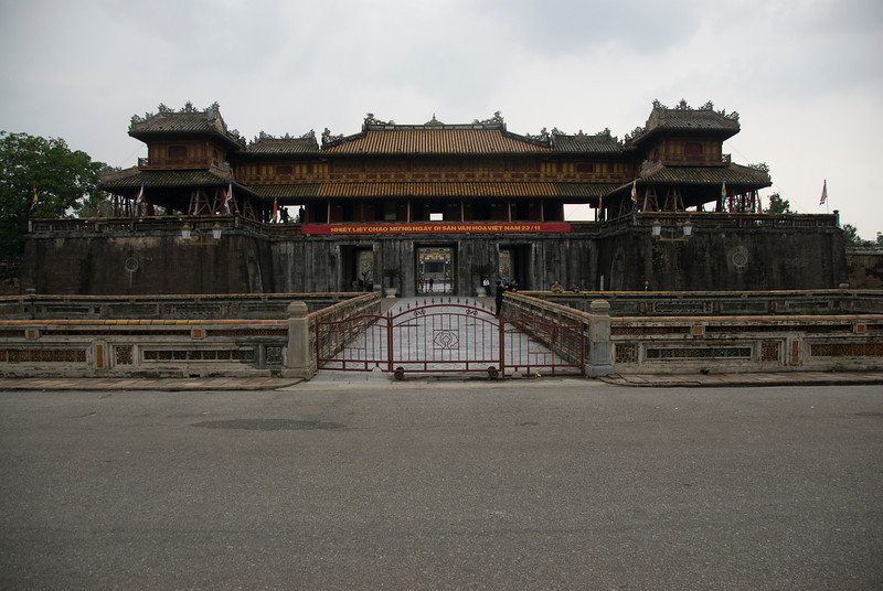 The gated entrance to Citadel - Hue, Vietnam