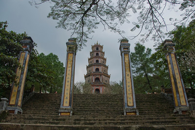 Front view of the Thien Mu Pagoda - Hue, Vietnam