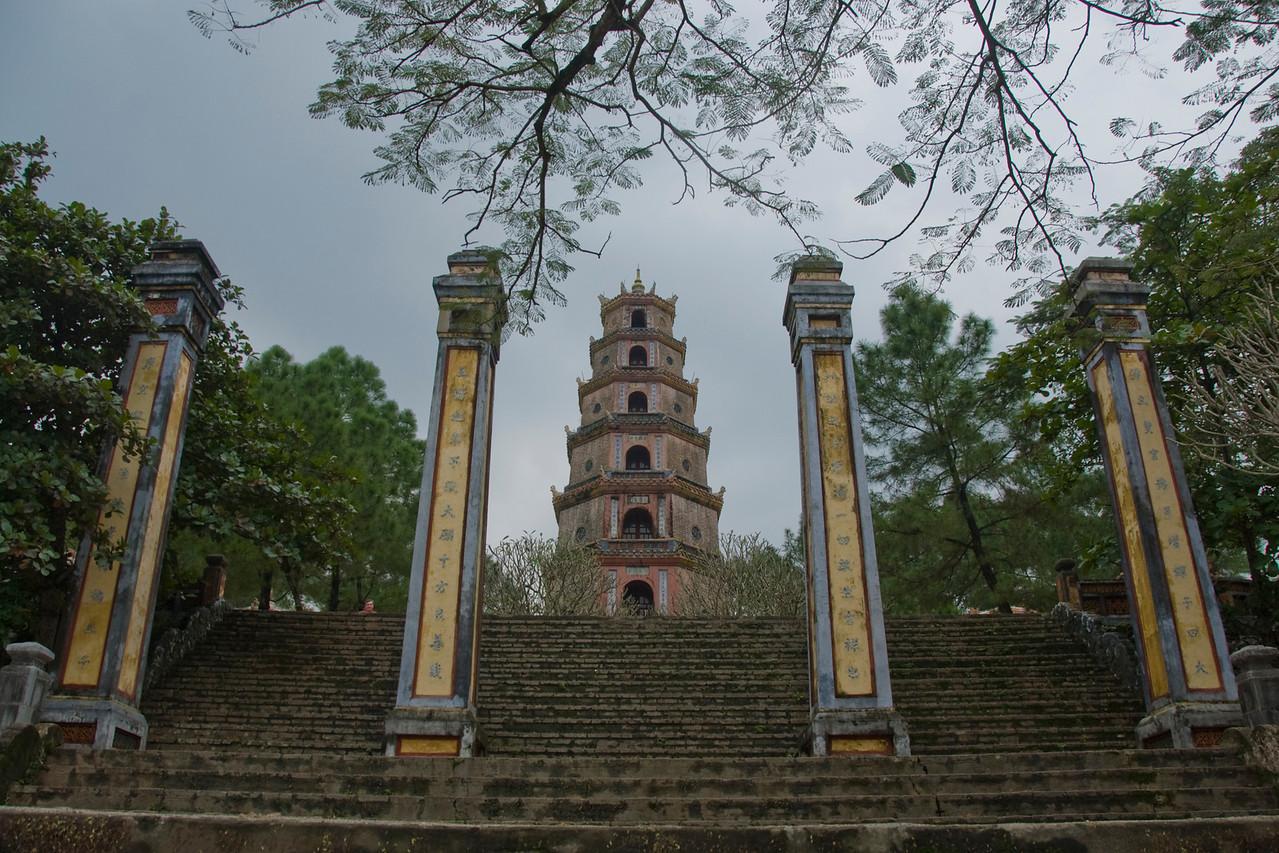 Front view of the Thien Mu Pagoda - Hue, Vietnam