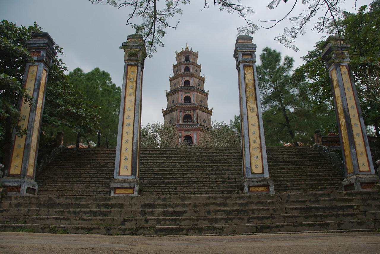 Looking up the Thien Mu Pagoda - Hue, Vietnam