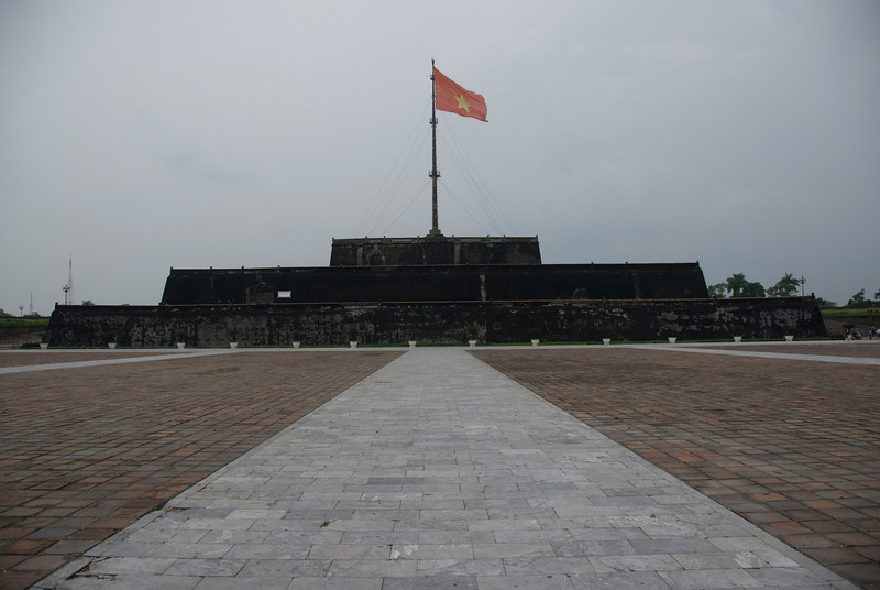 Vietnamese national flag waving in Citadel - Hue, Vietnam