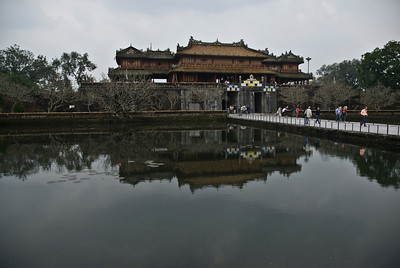 The Citadel gate reflected on pond near entrance - Hue, Vietnam
