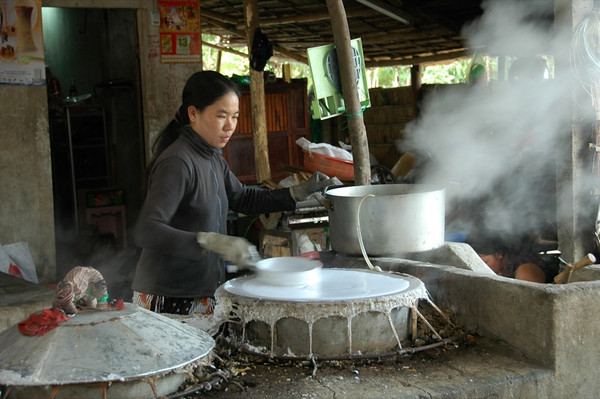 Woman Making Rice Noodles - Mekong Delta, Vietnam