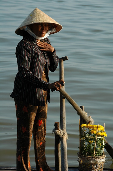 Woman with Oars - Chau Doc, Vietnam