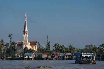 Pretty views of a church on the Cổ Chiên River.