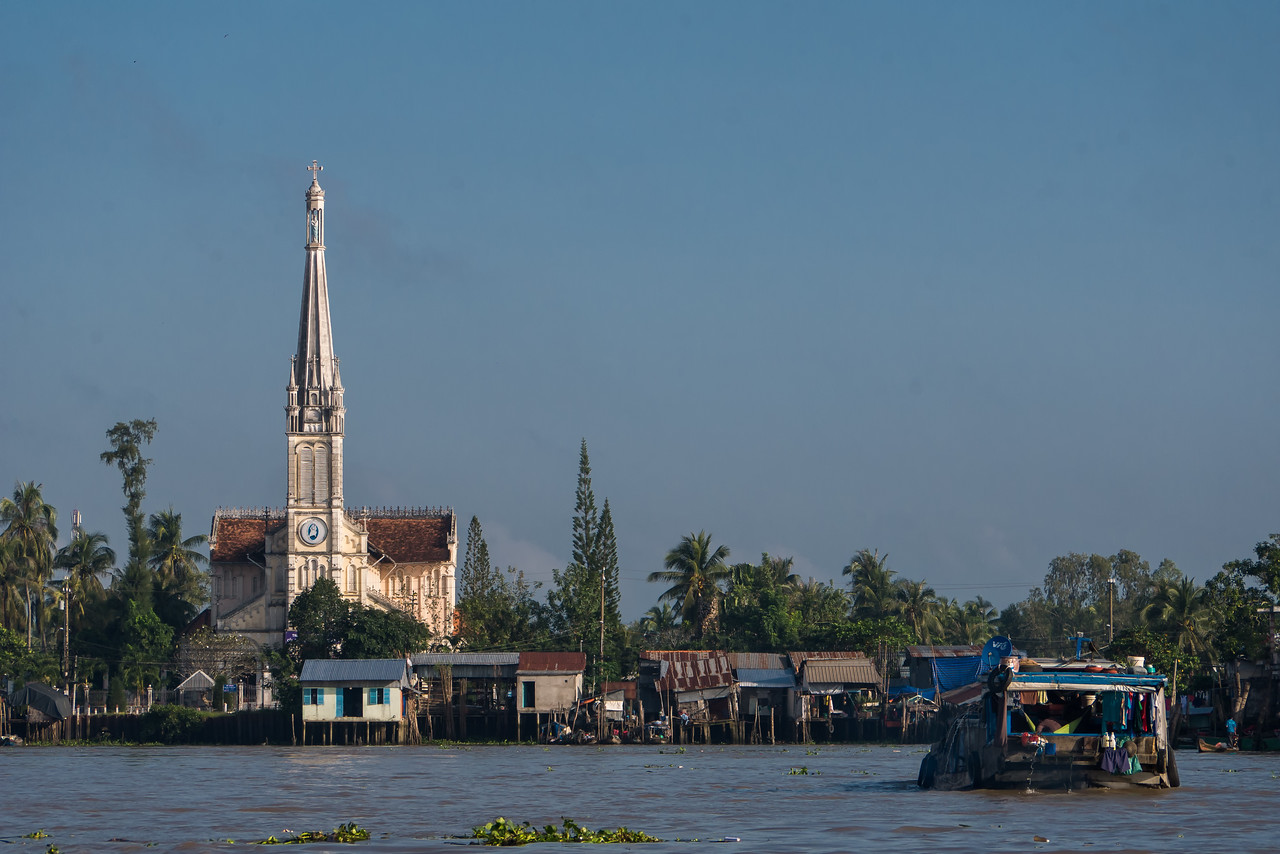 Pretty views of a church on the Cổ Chiên River.