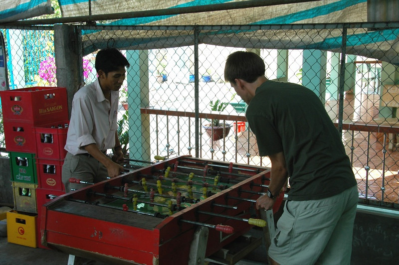 Playing Foosball  - Mekong Delta, Vietnam