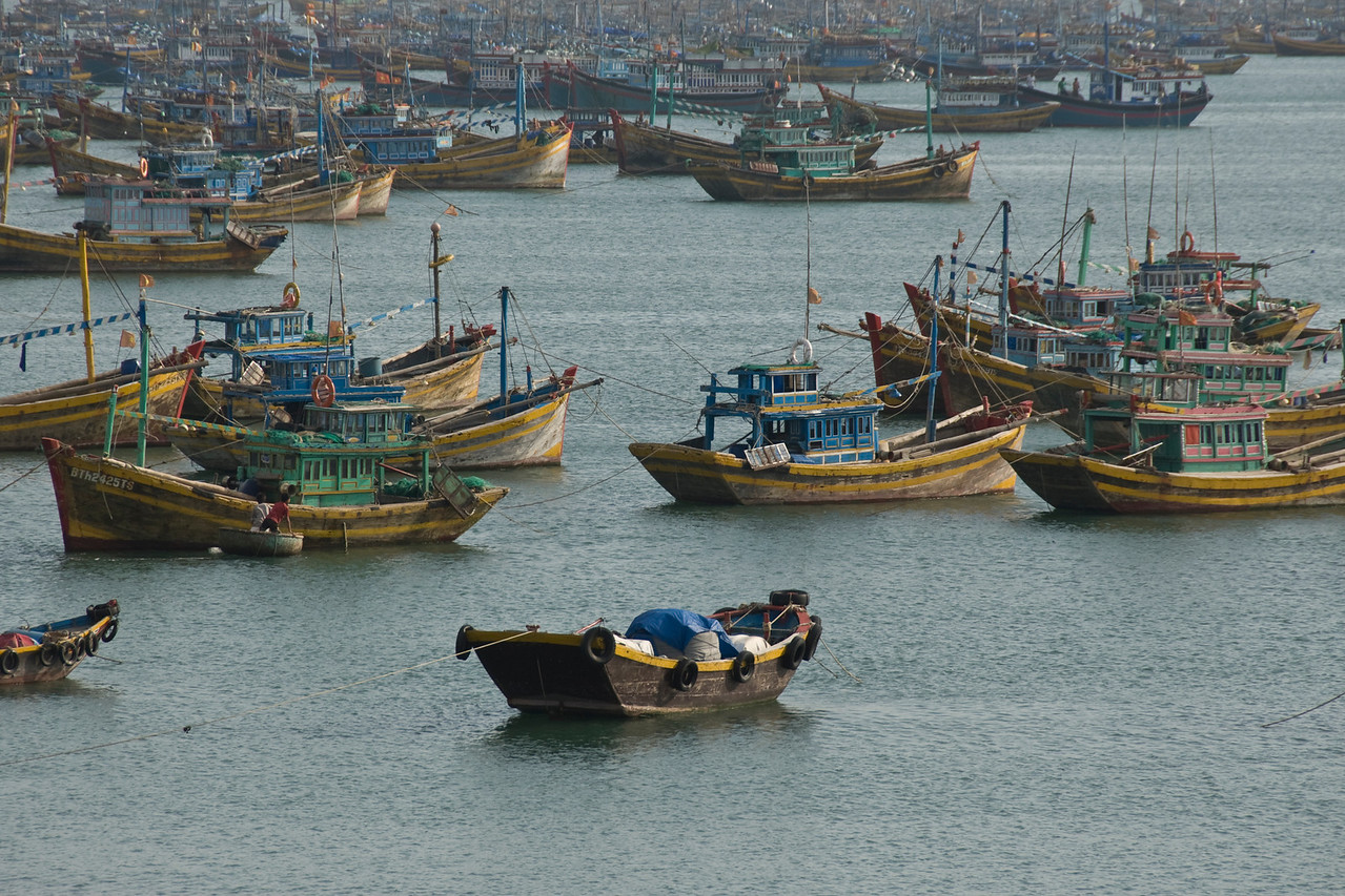 Boats in anchor at fishing village in Mui Ne, Vietnam