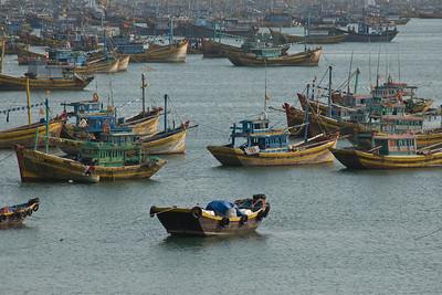 Boats in anchor at fishing village in Mui Ne, Vietnam