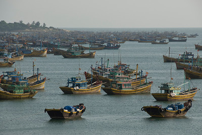 Lots of boats at the fishing village Mui Ne, Vietnam