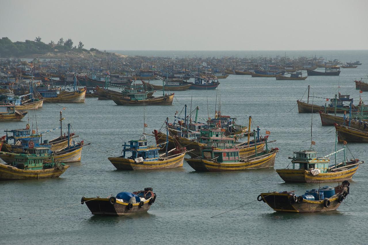 Lots of boats at the fishing village Mui Ne, Vietnam
