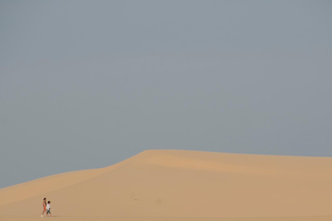 Clear sky above the white sand dunes - Mui Ne, Vietnam