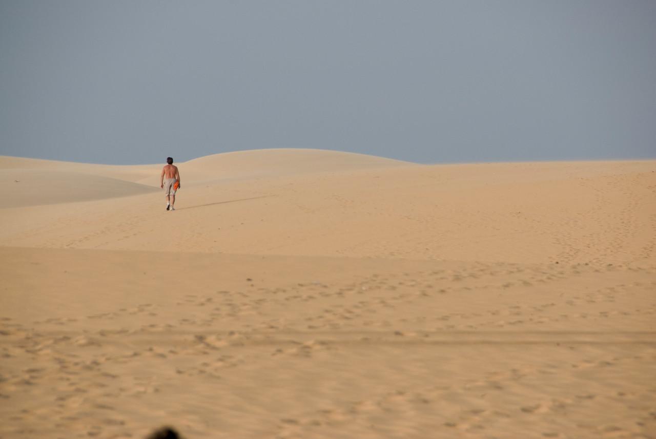 Landscape shot of the white sand dunes - Mui Ne, Vietnam