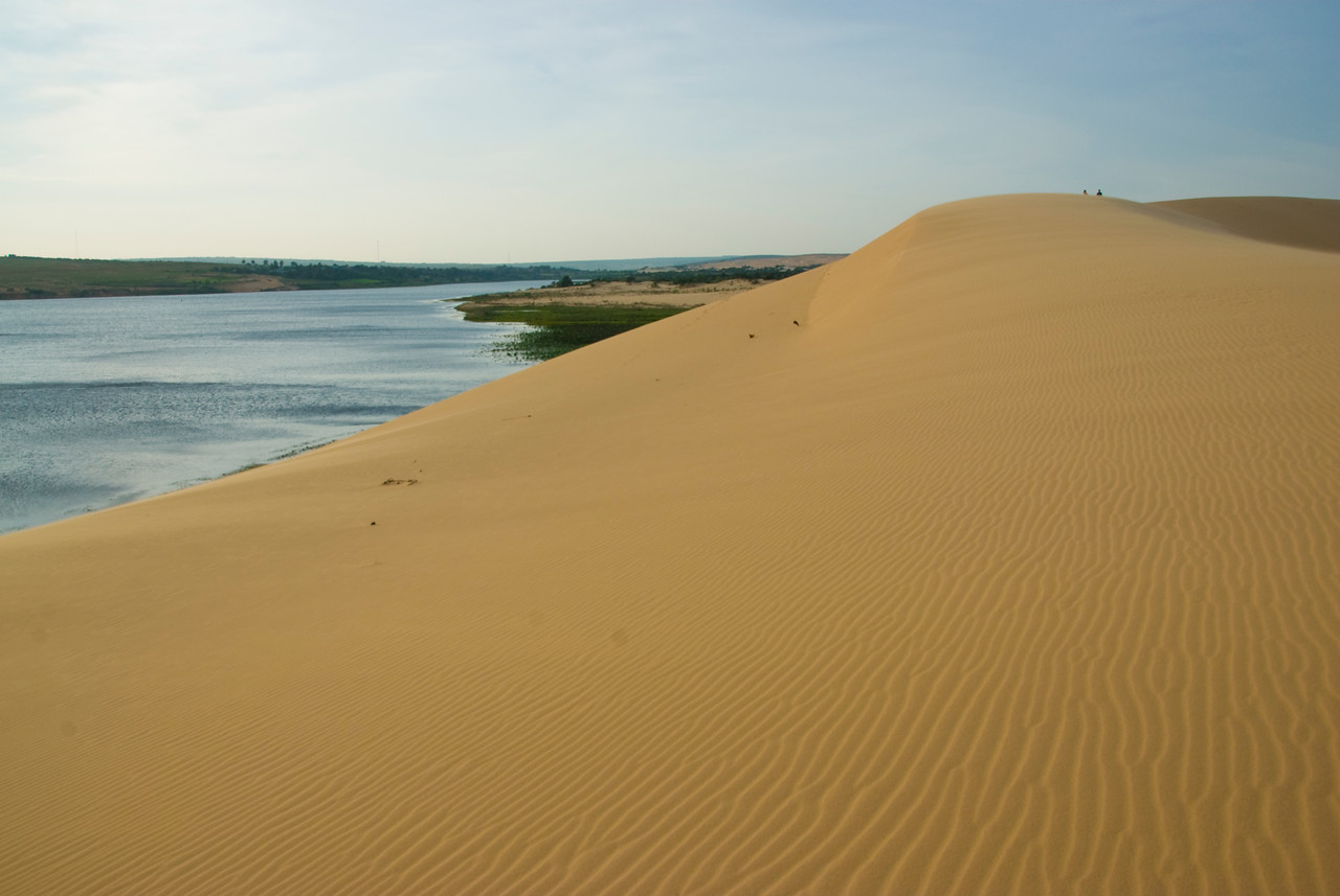 Beautiful view of the sand dunes and stream in Mui Ne, Vietnam