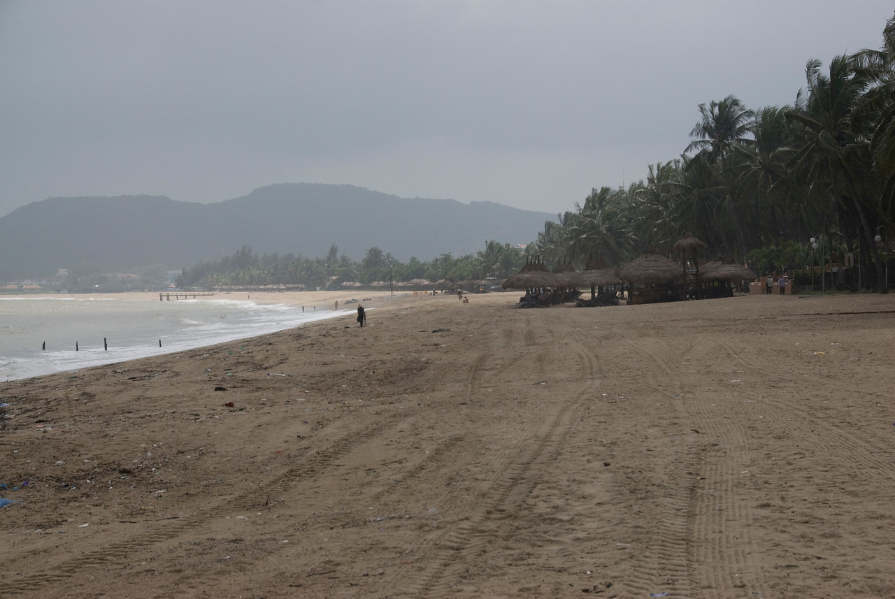 Wide shot of the beach at Nha Trang, Vietnam