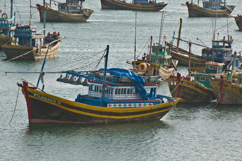 Close-up of the colorful fishing boats in Mui Ne, Vietnam
