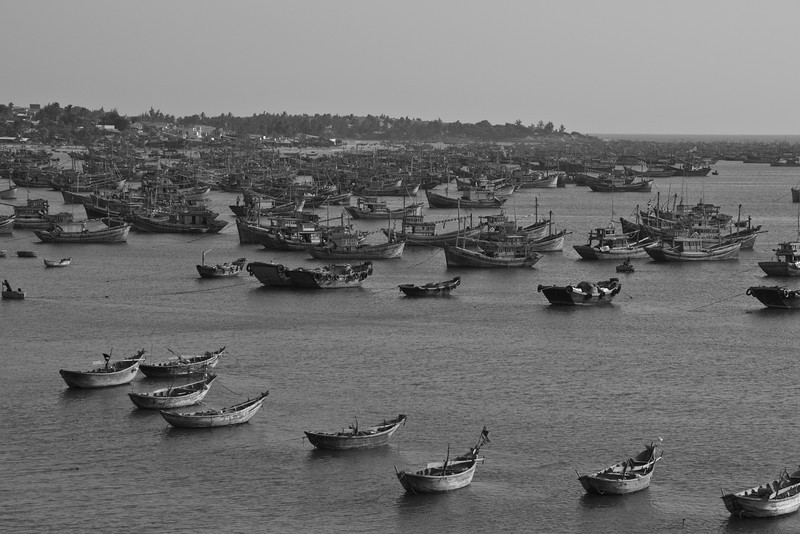 Boats at fishing village in B&W - Mui Ne, Vietnam