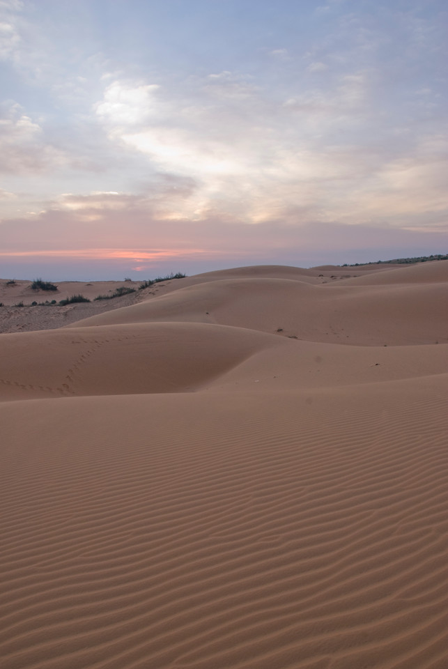 Beautiful sunset at the white sand dunes - Mui Ne, Vietnam