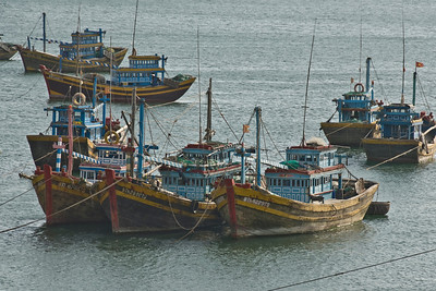 Closer shot of boats at a fishing village in Mui Ne, Vietnam