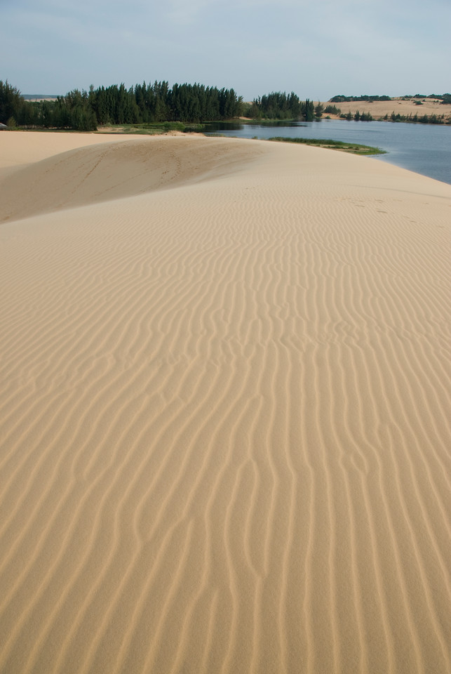 Wind marks at the white sand dunes - Mui Ne, Vietnam