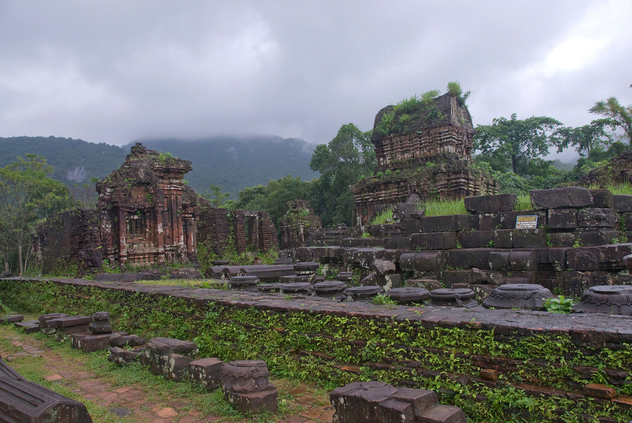 Dark clouds above the ruins in My Son Sanctuary, Vietnam
