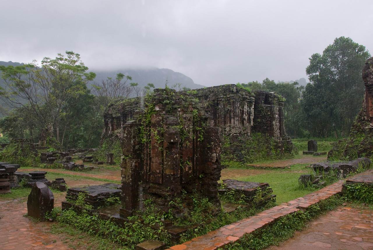 Wide shot of the temple ruins - My Son Sanctuary, Vietnam