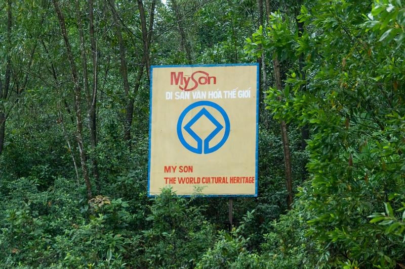 UNESCO sign at entrance of My Son Sanctuary, Vietnam