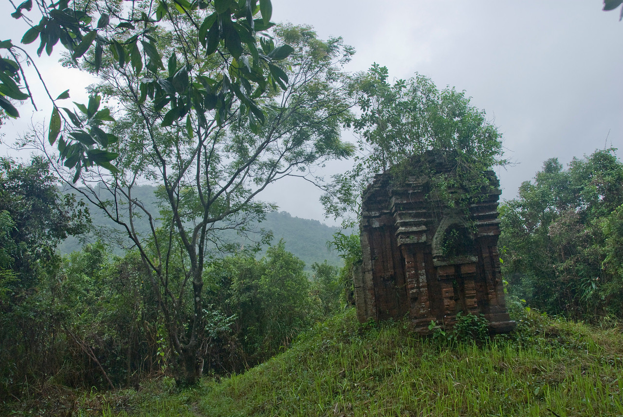 Ruins in the midst of canopy in My Son Sanctuary, Vietnam