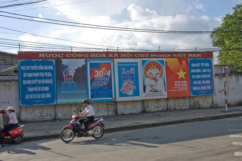 Propaganda sign along a street in Saigon, Vietnam