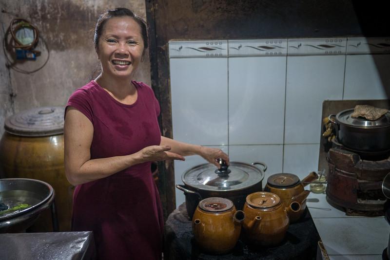 Preparing traditional Vietnamese coffee.