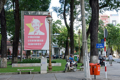 Propaganda sign at a public park in Saigon, Vietnam