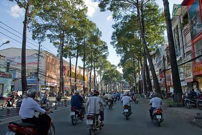 Wide shot of traffic scene in Saigon, Vietnam