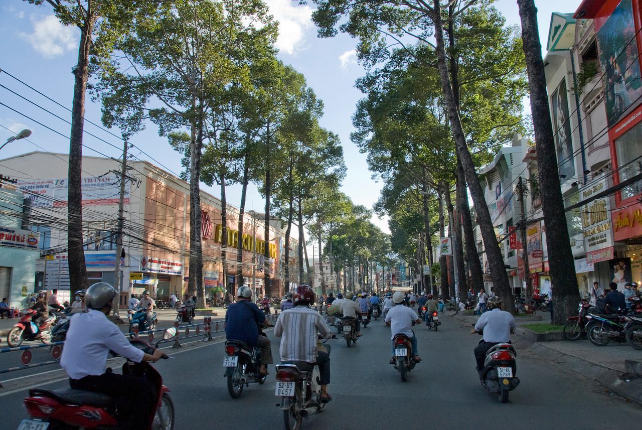 Wide shot of traffic scene in Saigon, Vietnam