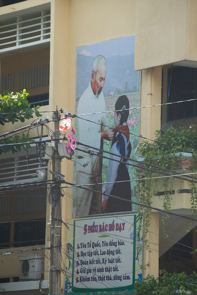 Propaganda sign in Saigon, Vietnam