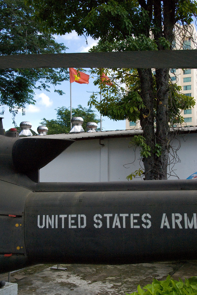 Helicopter Tail and Flag at War Relics Museum - Saigon, Vietnam