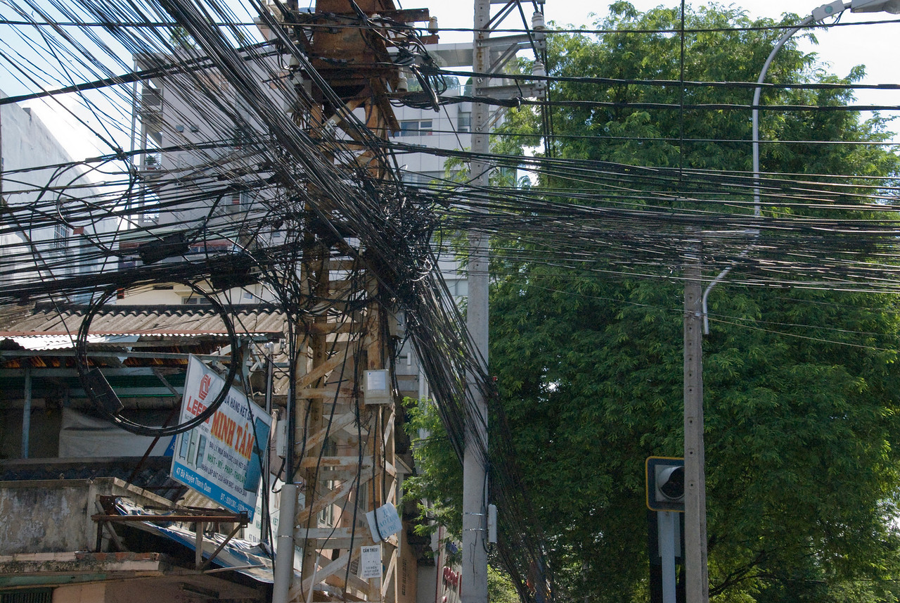 Lots of wirings on eletrical pole - Saigon, Vietnam