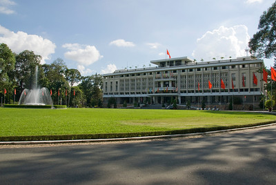 Huge fountain outside the Reunification Palace - Saigon, Vietnam