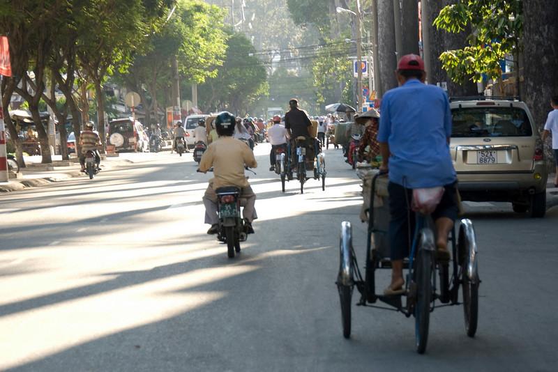 Busy street during day in Saigon, Vietnam