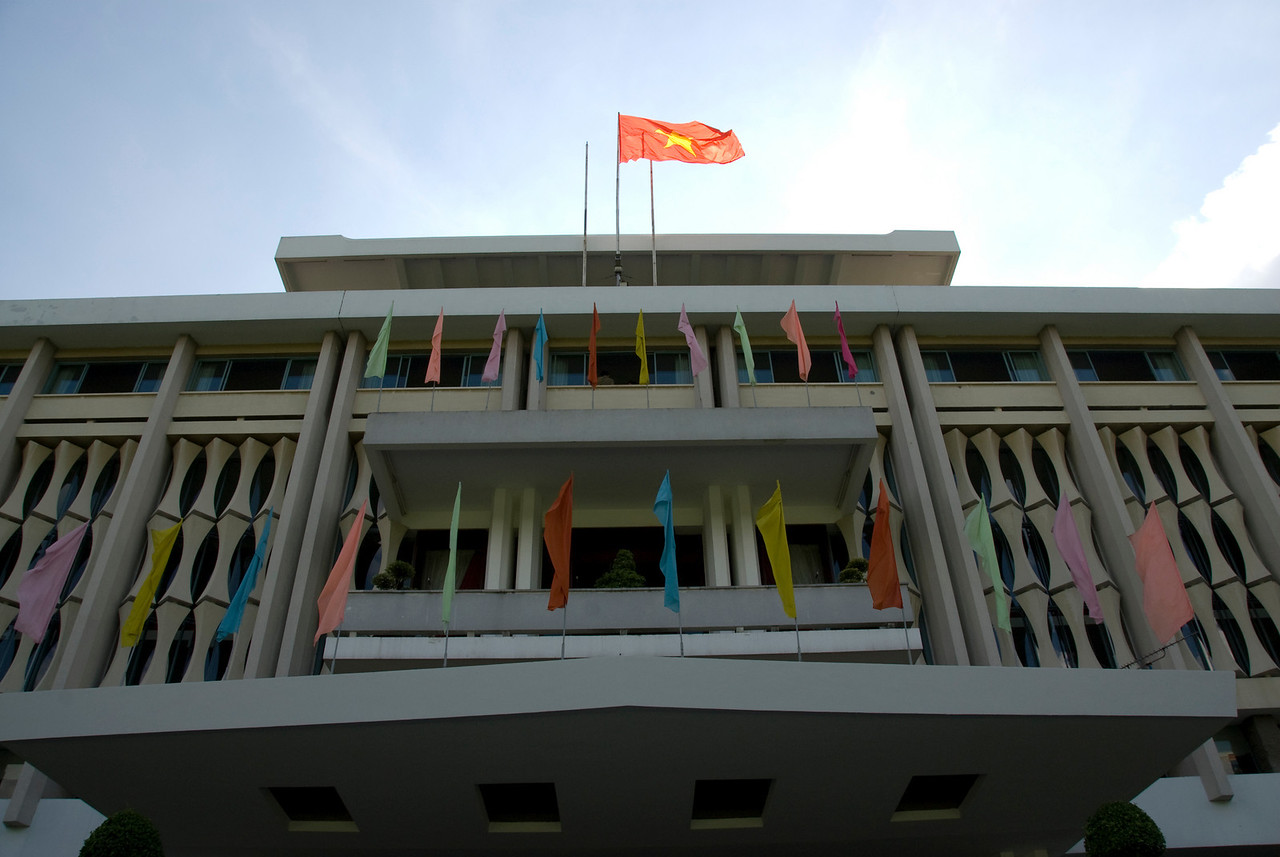 Looking up the facade of Reunification Palace - Saigon, Vietnam