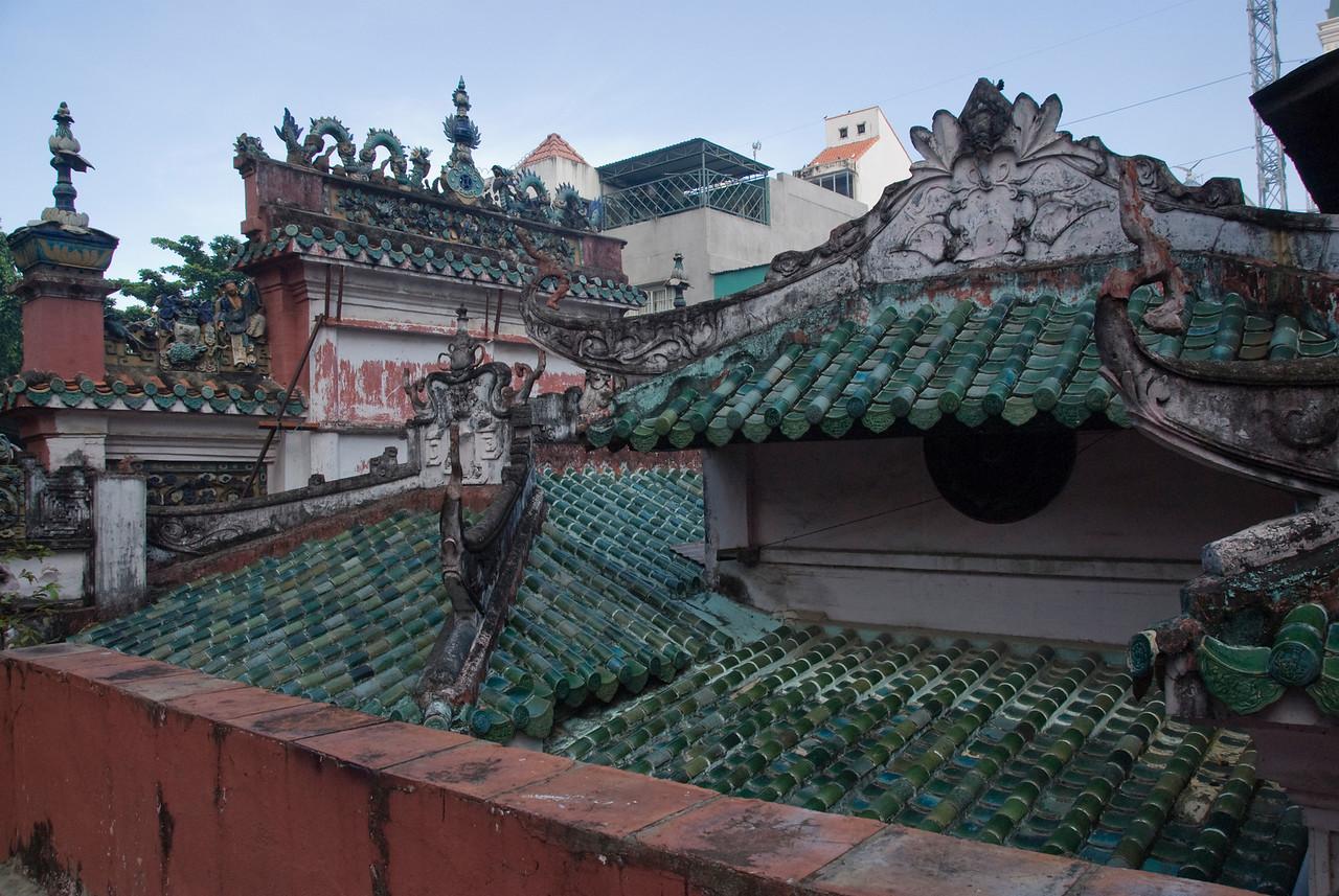 Temple Rooftops in Saigon, Vietnam